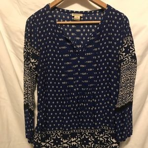 Lucky Brand Blue Printed Blouse